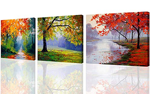 Nuolan Art - Framed Ready to Hang 3 Panels Modern Landscape Canvas Print Wall Art - UK-P3L3040-005 by Nuolan Art