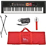 Blueberry Yamaha F-51 Digital Keyboard with Adapter, Bag, Selfie Stick and Stand (Red)