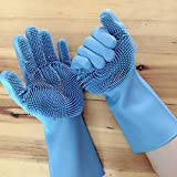 Zikluro® 1 Pair Silicone Cleaning Brush Scrubber Gloves (Random Colour) for Dishes, Car and Pet, Dish wash