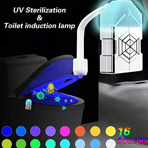 Barrel Lampe (FZYUAN WC-Licht, 16-farbiges WC-Licht UV-Desinfektions-WC-Lampe, batteriebetriebenes Barrel-Licht Nacht, Zwei-Modus-Bewegungssensor-LED-Waschraum-Nachtlicht)