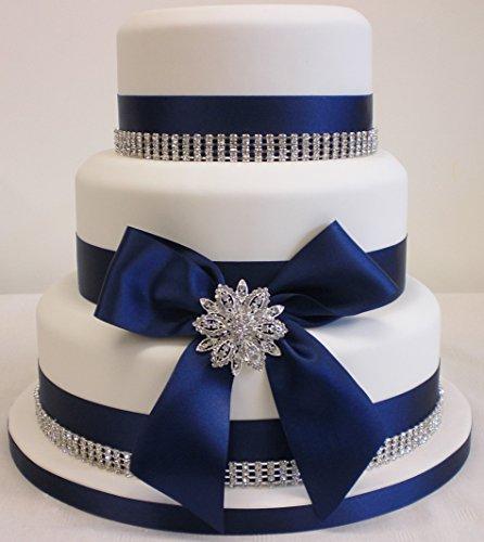 Gâteau décoration pour gâteau de mariage Broche en strass/strass et ruban satin de décoration pour gâteau Bleu marine