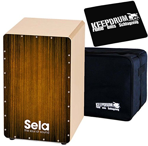 Sela SE051 Varios Brown Cajon + KEEPDRUM Tasche + Sitzpad