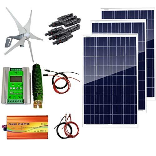 Contenido del paquete: 1 turbina de viento de 400 W. 3 paneles solares de 100 W. 1 inversor de onda sinusoidal pura de 1000 W de pico 2000 W. 1 controlador híbrido. 1 cable con clip de aligador. 1 cable solar de 5 m rojo y negro con conectores MC4 (r...