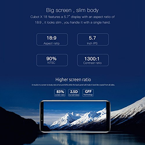 Cubot X18 Smartphone 4G Unlocked Mobile Phone (Screen:5.7 inches; HD; aspect ratio 18:9; 3GB + 32GB; Android 7.0; 13 and 16 MP cameras; dual SIM; ultra-slim; digital fingerprint; WiFi)