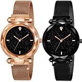 GREAT WORK Analogue Girls' Watch (Black Dial Black & Gold Colored Strap) (Pack of 2)