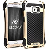 Galaxy S7 Edge Coque, Urcover Outdoor Armor Case Samsung Galaxy S7 Edge Étui Protection Alu Bumper Champagne Or Look Carbone Housse Robuste Antichoc Case