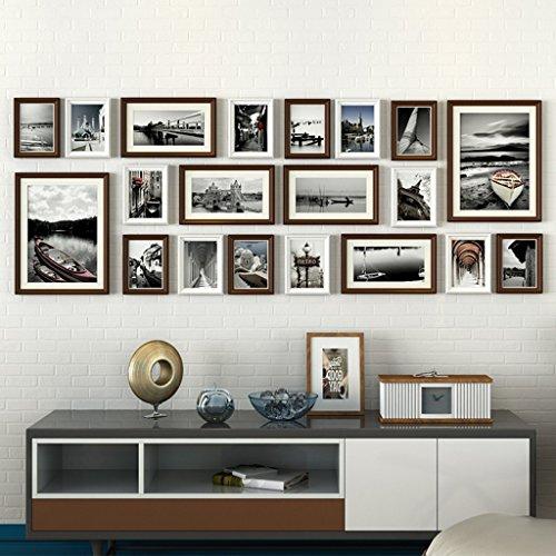 HDOH Moderne Mode-Foto-Wand, rechteckiges Kiefern-Rahmen-Portfolio (20 Sätze), geschätzter Bereich von 196 × 73cm (Kiefern-aufkleber)