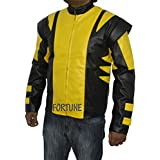 X-Men de Lobezno de colores amarillo y negro de piel sintética Vintage chaqueta de disfraz de motorista de carreras