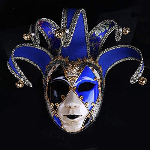 BHXUD Bemalte Halloween-Party-Party Maske Gehobene Venedig Damen Show Maske,Blue