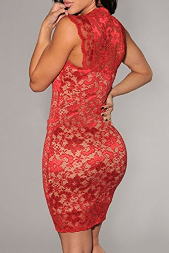 Sans Illusion Deargirl Nude dentelle Robe Soirée Cocktail Party Rouge - Rouge