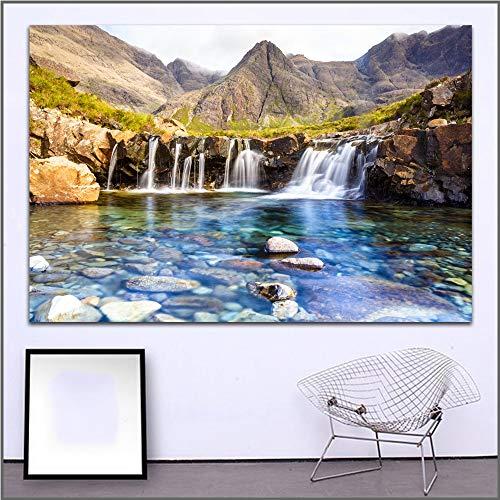 XCSMWJA Drucken Oil Painting Fairy Pools Wasserfall Isle Schottland Kunst Leinwand Bilder Für Wohn- Und Schlafzimmer Kein Frame 50 * 70Cm