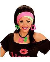 Neon Halskette und Ohrringe 80er Jahre Schmuck Set Ohrclips Halsschmuck Hals Kette Ohr Ring Modeschmuck Ohren Clips Kostüm Kleidung Verkleidung Accessoires