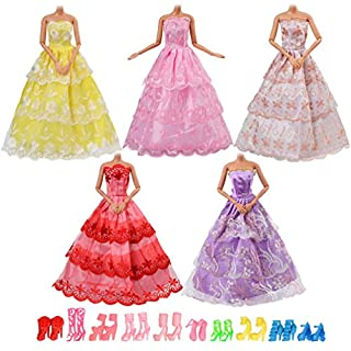 Asiv 15pcs Clothes accessories For Barbie Doll, 5pcs Dress Party Clothes 10 pair of shoes For Girls Christmas & Birthday Gift