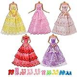 Asiv Vestiti e Scarpe per Bambola Barbie, 5 Pezzi Moda Abiti Fatti a Mano e 10 Paia di Scarpe per Bambola da 11,5 Pollici
