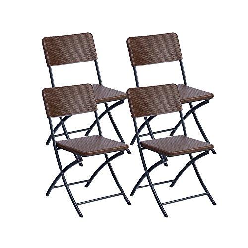 Resol Easy Rattan - Set de 4 sillas plegables, plástico, 54 x...