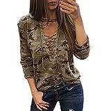 Maglietta a maniche lunghe a maniche lunghe a manica lunga in camicia da stampa Camouflage