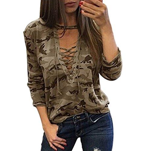 Camiseta Camuflaje Masterein para Mujeres manga larga V cuello Tops Bandage Verano Camiseta blusa
