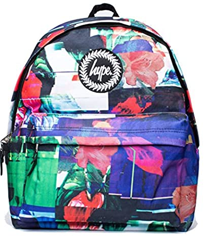 Hype Backpack Bags Rucksack - Glitch Flowers Design - Ideal School Bags - For Boys and Girls - Glitch