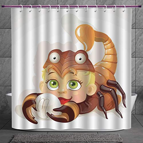 Funky Shower Curtain 20 AstrologyLlittle Scorpio Horoscope Sign With Claws Courage Planet Mars Elements Joy Wall Art DecorativeMulti Fabric