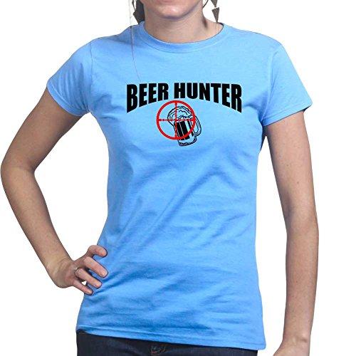 Beer Hunter - Funny Womens Ladies T Shirt (Tee, Top) XS Light Blue - Bier Womens Light T-shirt