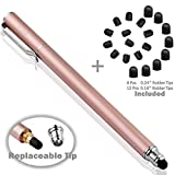 Bargains Depot B & D Stylus Stift Touch Pen Eingabestift Kapazitiven Touchscreen mit 20 x Ersatzspitzen für Tablet iPad iPhone Samsung Galaxy Tab (Rose Gold)