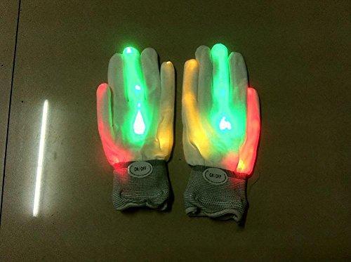 Leuchtend Regenbogen Handschuhe Blinken Handschuh Weiß Gestrickt Vollfinger Fäustling Für Festivals, Halloween, Feuer, Nachtfeier, Spiele (Herbst-festival-halloween-spiele)