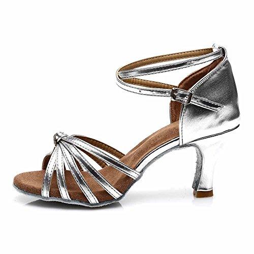 YKXLM Mujeres&Niña Zapatos Latinos de Baile Zapatillas de Baile de Salón Salsa Performance Calzado de Danza,ES217-7,Plateado Color,EU 37
