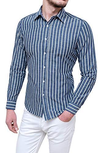 Evoga camicia uomo sartoriale in cotone casual elegante a righe (m, blu scuro)