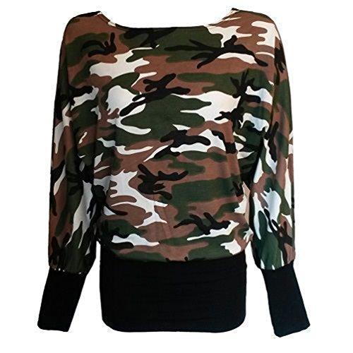 MIXLOT Femmes Sexy imprimé Batwing à manches longues Femmes Hommes épaule look mouillé Plus Taille 8-26 Army/Camouflage