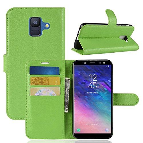 OFU? Para Samsung Galaxy A6 Funda,Cartera Cuero Funda de Piel Wallet Case para Samsung Galaxy A6 Carcasa Flip Case Cover con Función Soporte(Verde)