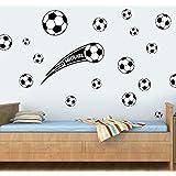 Personalizable de balones de fútbol–20unidades–negro–pegatinas de vinilo de Wall Art–Easy Peel & stick