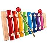 Caratteristica:  Xilofono giocattolo suona molto melodiosa quando si bussa esso.  E ogni pezzo di voce bussare metallo è diverso.  Può ispirare il talento dei bambini per la musica.  Colori vivaci aumentano i bambini sensibili ai colori. ...