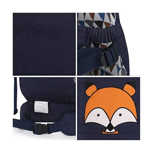 CUBY Dolls Carrier Front and Back Soft Cotton Suitable for Baby Over 18 Months, Fox - Blue (Fox - Blue) CUBY ★100% soft cotton material, gentle to the kids' skin. ★0.18 kg, 5.51 × 9.84 × 12.8 inches (L × W × H); The dimension of dolls should be smaller than 24.8 inches. ★ Padded shoulder and waist straps. 4