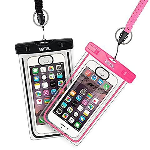 EOTW IPX8 2 Pack Waterproof Case Support iPhone Touch ID,Underwater Dry Bag with Lanyard for Smartphones up to 6