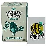 Higher Living - Tisana Biologica Digestiva e Rinfrescante con Arancia, Basilico e Menta- 15 Filtri in Cotone non Sbiancato