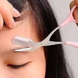 Augenbrauen Schere Mit Kamm, Rutschfeste Finger Griff Augenbrauen-trimmer Rasierer Pinzette Pinsel (Pink)