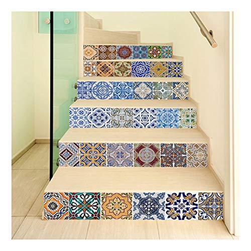 SERFGTFH Escalera 3D Pegatinas De Pared DIY Escalera Antideslizante Adhesivo Papel Tapiz Mosaico Mural Paster Home Decoración De Piso