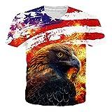 Leapparel Unisex Herren und Damen 3D Print Kurzarm Vintage T-Shirt Top mit Amerikanischer Flagge Eagle Head Design XL