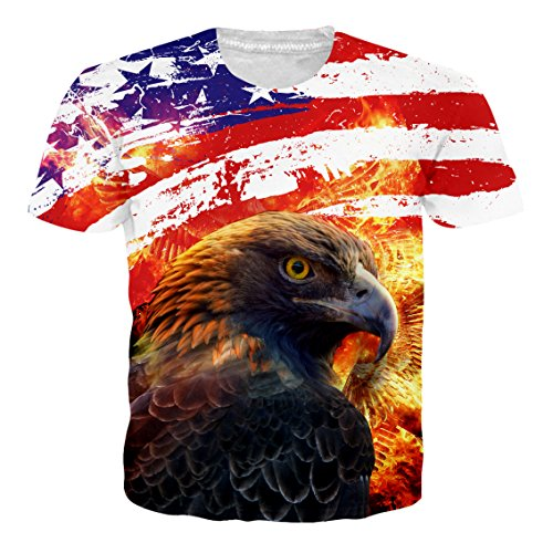 Leapparel Unisex Herren und Damen 3D Graphic Print Kurzarm Lustige T-Shirt mit American Flag Eagle Pattern XXL (American Damen Flag Shirt)