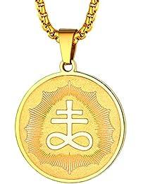 a7836153c114 FaithHeart Medalla Redonda Colgante Acero Inoxidable Collar Religioso con  Cadena Ajustable Joyería Milagrosa para Hombre y Mujer Cruz…