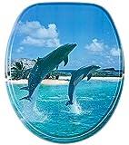 WC Sitz, hochwertige Oberfläche, einfache Montage, stabile Ausführung, Delphine am Strand