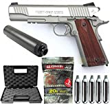 Colt-Pack 1911 Rail Gun Stainless Co2 Full Metal-cybergun 180530- Semi Automatik (0,5 Joule) -blowback-mit Zubehör