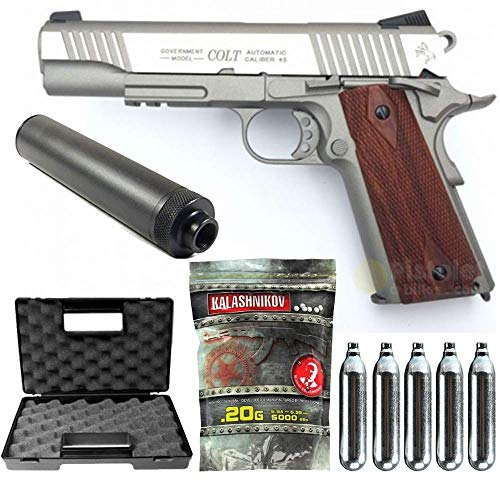 Colt-Pack 1911 Rail Gun Stainless Co2 Full Metal-cybergun 180530- Semi Automatik (0,5 Joule) -blowback-mit Zubehör -