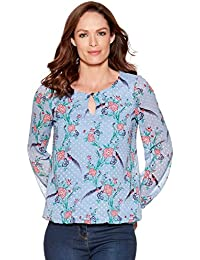 M&Co Ladies Long Cuff Sleeve Scoop Keyhole Neck Bubble Hem Floral Print Dobby Blouse