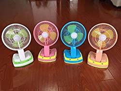 PERFECT SHOPO Rechargeable Ac/Dc 2 Speed Table Fan with 21 SMD LED Lights JY Super 5590 Random Color