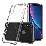 "HZRICH Coque iPhone XR Clair, Souple Clair TPU Silicone/Housse Bumper, [Cadeau Ecran en Verre Protecteur][Shock-Absorption] Anti-dérapante Cover iPhone XR(2018)-6.1""- Transparent"