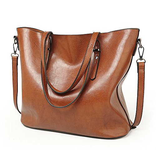 VECHOO Damen Handtasche Leder Umhängetasche Vintage Schultertasche klein Shopper Taschen Henkeltasche(Braun) 32*29*13cm (Kleiner Shopper)