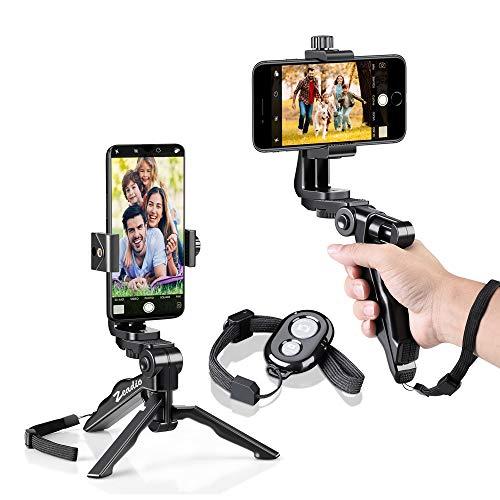 Zeadio 2-in-1Smartphone handheld Grip estabilizador y trípode Combo, 360Degree rotación soporte + multiusos portátil trípode para iPhone 7Plus se 6s 6Plus 65S 54S 4Samsung Galaxy S6S5S4Huawei Sony LG Nexus Nokia y más teléfonos
