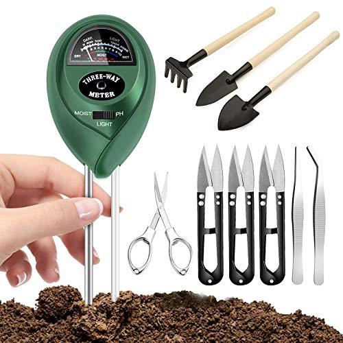Koouyt Bodentester, Boden Messgerät Keine Batterien erforderlich, 3-in-1 Boden Feuchtigkeit Meter, mit 9-teiligem Bonsai Werkzeug für Garten, Pflanzen Wachstum