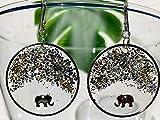 Jaipur II - Orecchini a cerchio in vetro con resina, oro e argento luccichio e ciondoli elefante, argento sterling 925, regalo per lei - ER58P